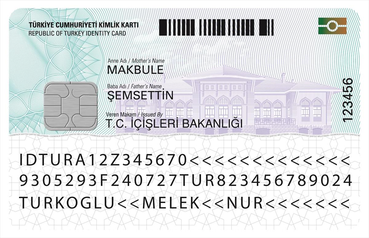 resmi kimlik kartı arka yüz