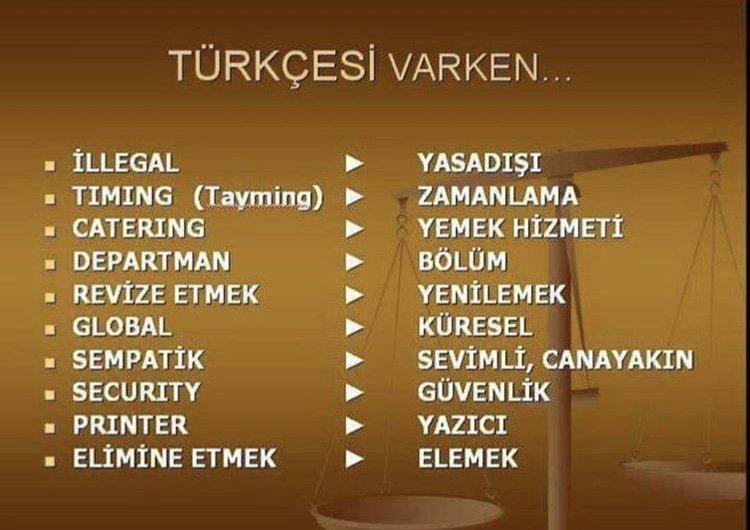 Yabancı sözcüklerin Türkçe karşılıkları